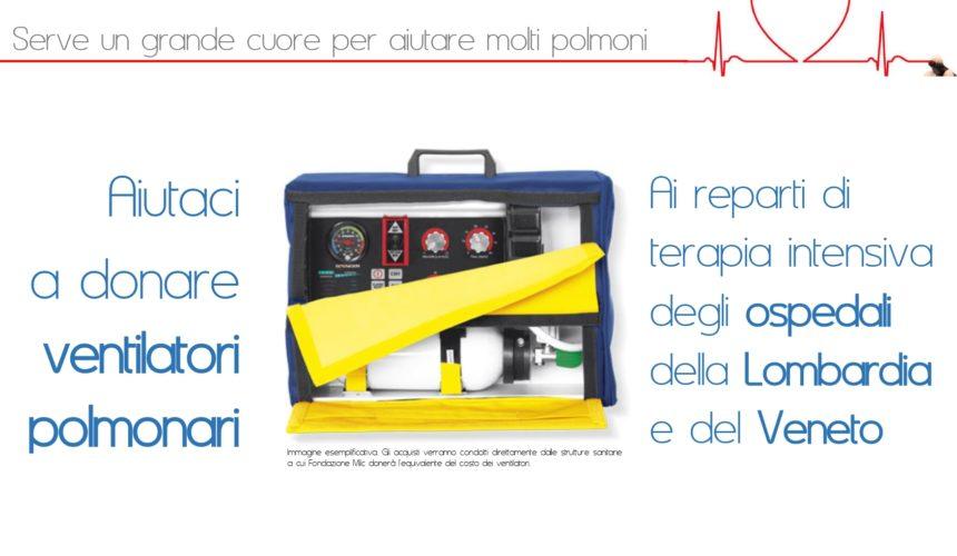 Fondazione Milc: avviata campagna di raccolta fondi per donare ventilatori polmonari