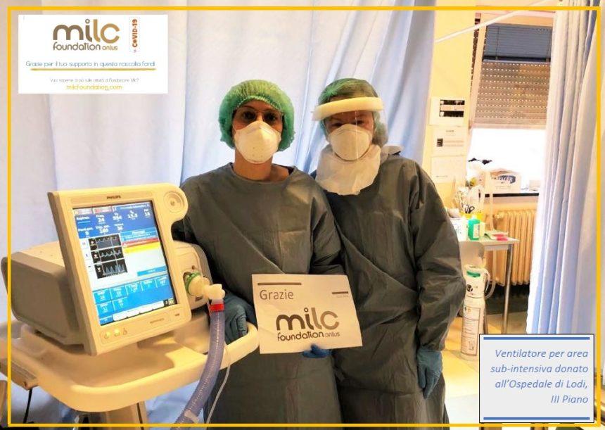 Fondazione Milc dona un ventilatore polmonare all'Ospedale di Lodi